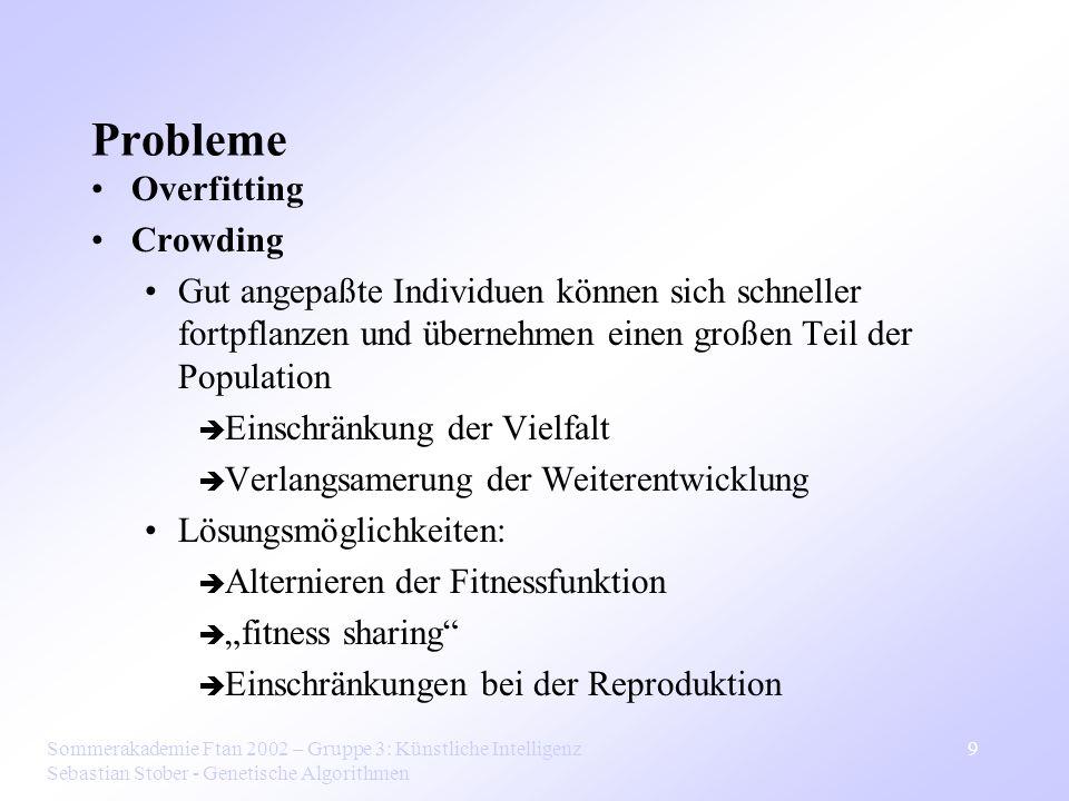 Sommerakademie Ftan 2002 – Gruppe 3: Künstliche Intelligenz Sebastian Stober - Genetische Algorithmen 9 Probleme Overfitting Crowding Gut angepaßte In