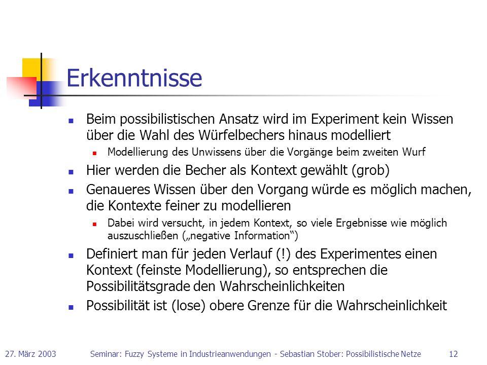 27. März 2003Seminar: Fuzzy Systeme in Industrieanwendungen - Sebastian Stober: Possibilistische Netze12 Erkenntnisse Beim possibilistischen Ansatz wi