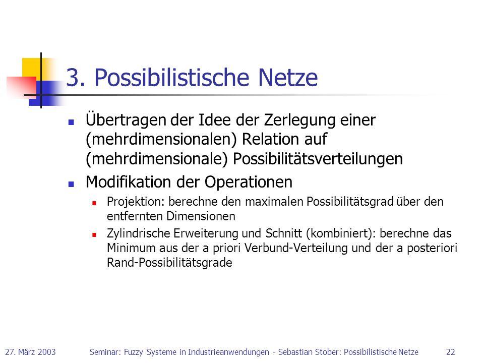 27. März 2003Seminar: Fuzzy Systeme in Industrieanwendungen - Sebastian Stober: Possibilistische Netze22 3. Possibilistische Netze Übertragen der Idee