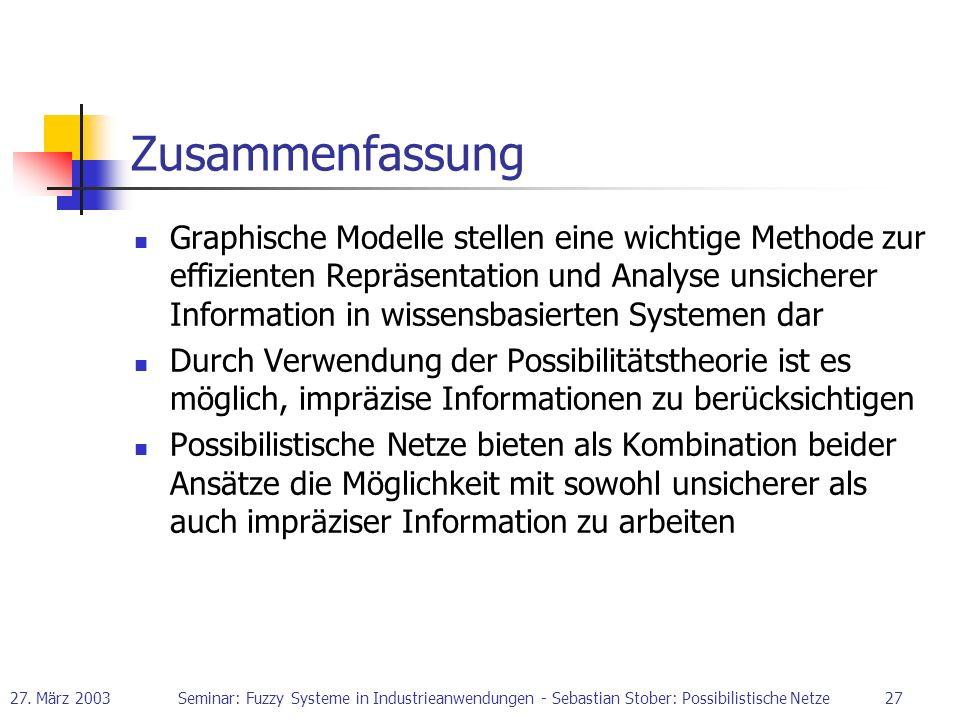 27. März 2003Seminar: Fuzzy Systeme in Industrieanwendungen - Sebastian Stober: Possibilistische Netze27 Zusammenfassung Graphische Modelle stellen ei