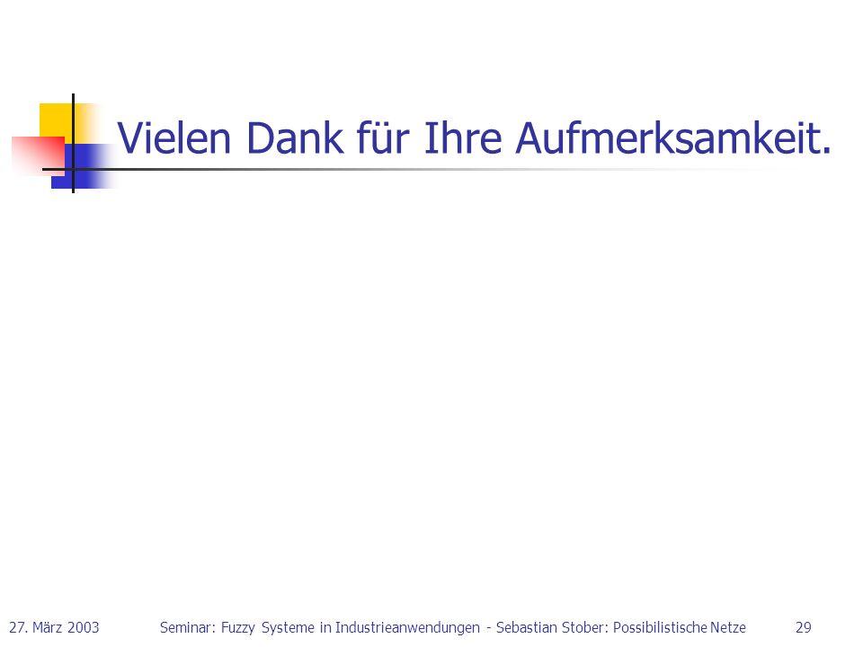 27. März 2003Seminar: Fuzzy Systeme in Industrieanwendungen - Sebastian Stober: Possibilistische Netze29 Vielen Dank für Ihre Aufmerksamkeit.