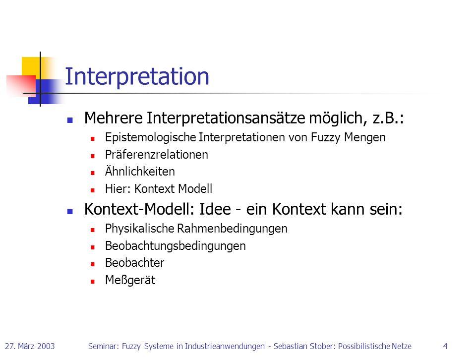 27. März 2003Seminar: Fuzzy Systeme in Industrieanwendungen - Sebastian Stober: Possibilistische Netze4 Interpretation Mehrere Interpretationsansätze