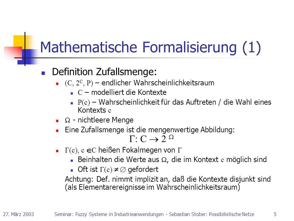 27. März 2003Seminar: Fuzzy Systeme in Industrieanwendungen - Sebastian Stober: Possibilistische Netze5 Definition Zufallsmenge: (C, 2 C, P) – endlich