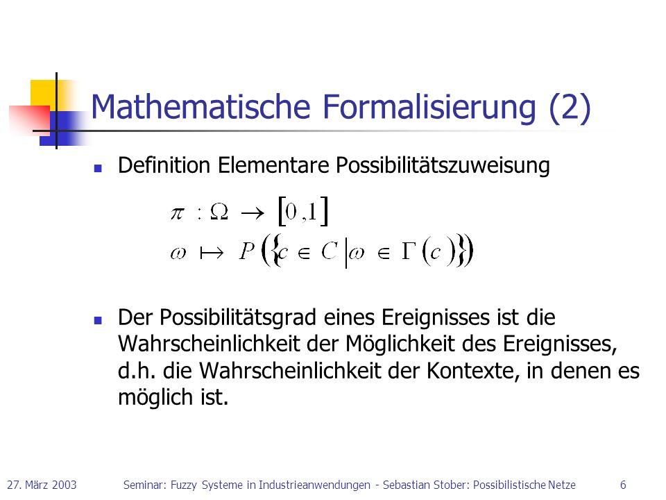 27. März 2003Seminar: Fuzzy Systeme in Industrieanwendungen - Sebastian Stober: Possibilistische Netze6 Mathematische Formalisierung (2) Definition El