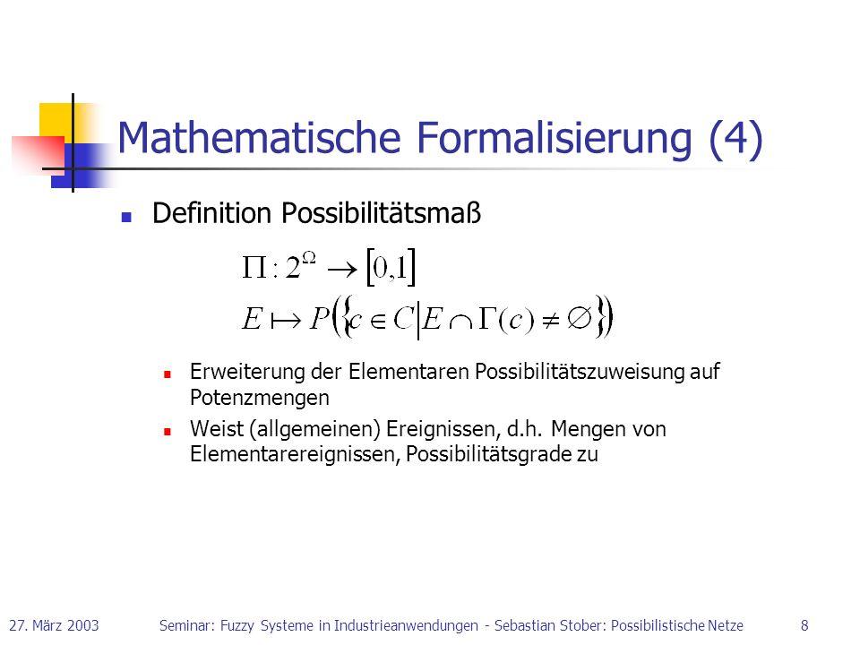 27. März 2003Seminar: Fuzzy Systeme in Industrieanwendungen - Sebastian Stober: Possibilistische Netze8 Mathematische Formalisierung (4) Definition Po