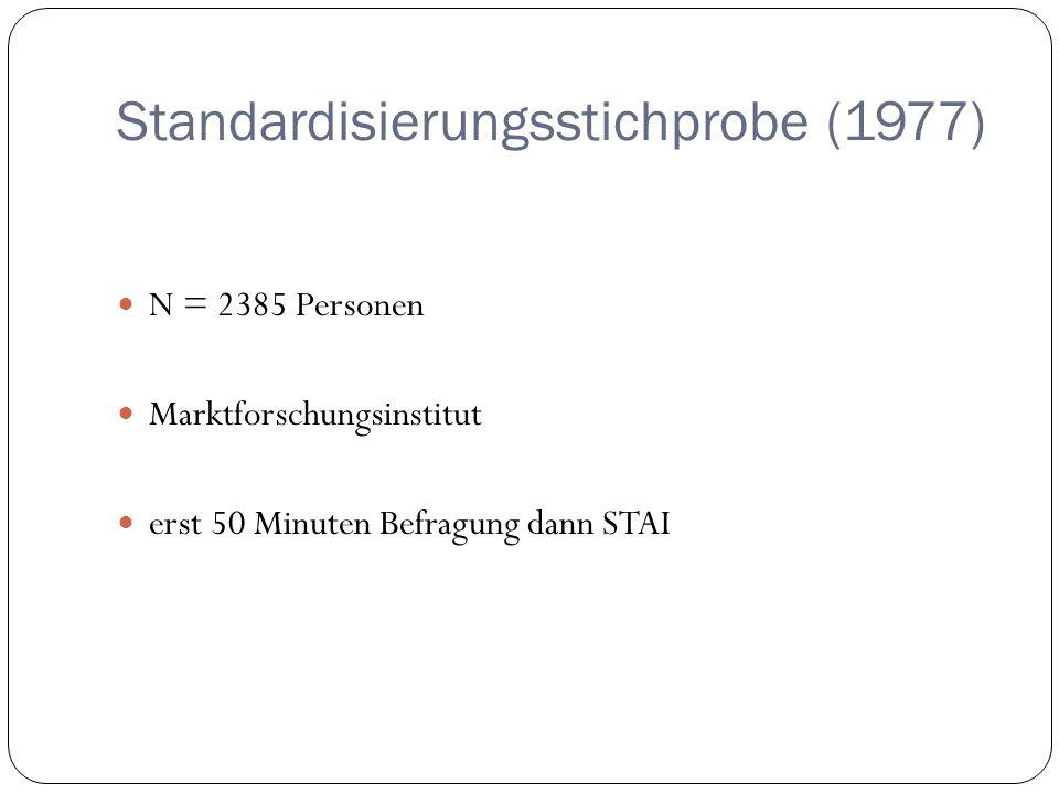 Standardisierungsstichprobe (1977) N = 2385 Personen Marktforschungsinstitut erst 50 Minuten Befragung dann STAI