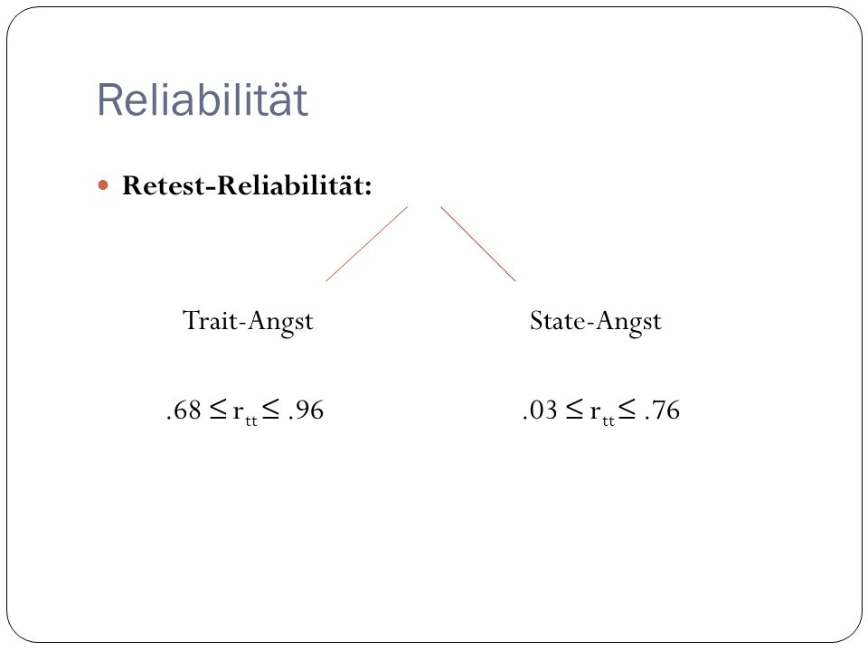 Reliabilität Retest-Reliabilität: Trait-AngstState-Angst.68 r tt.96.03 r tt.76