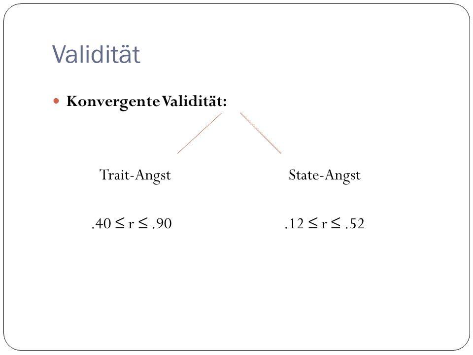 Validität Konvergente Validität: Trait-AngstState-Angst.40 r.90.12 r.52