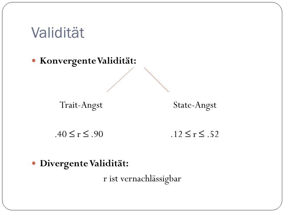Validität Konvergente Validität: Trait-AngstState-Angst.40 r.90.12 r.52 Divergente Validität: r ist vernachlässigbar