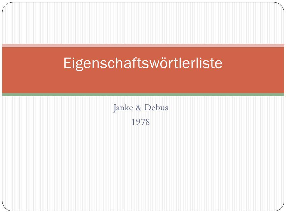 Janke & Debus 1978 Eigenschaftswörtlerliste