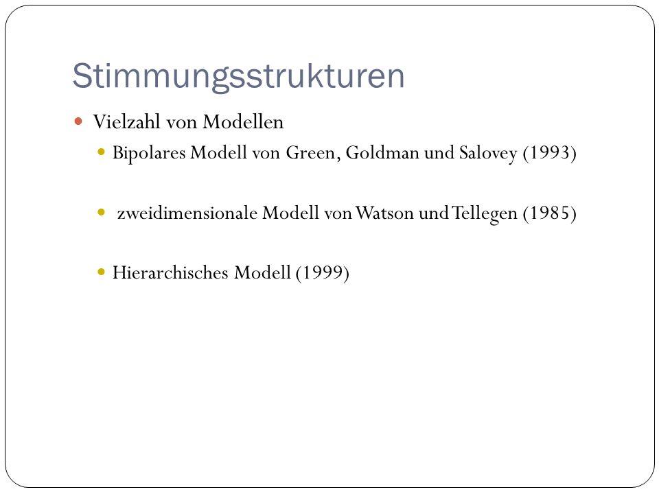 Stimmungsstrukturen Vielzahl von Modellen Bipolares Modell von Green, Goldman und Salovey (1993) zweidimensionale Modell von Watson und Tellegen (1985
