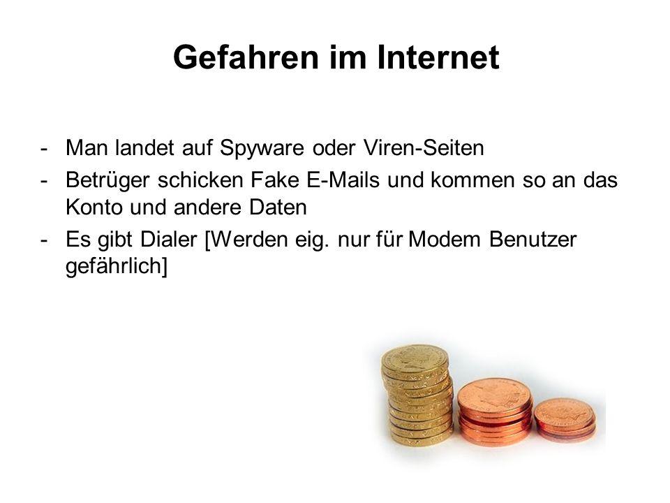 Gefahren im Internet -Man landet auf Spyware oder Viren-Seiten -Betrüger schicken Fake E-Mails und kommen so an das Konto und andere Daten -Es gibt Dialer [Werden eig.