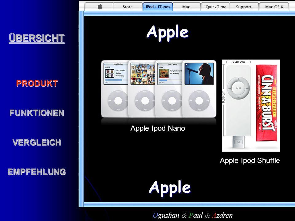 ÜBERSICHTPRODUKTFUNKTIONENVERGLEICHEMPFEHLUNGApple Apple Apple Ipod Nano Apple Ipod Shuffle