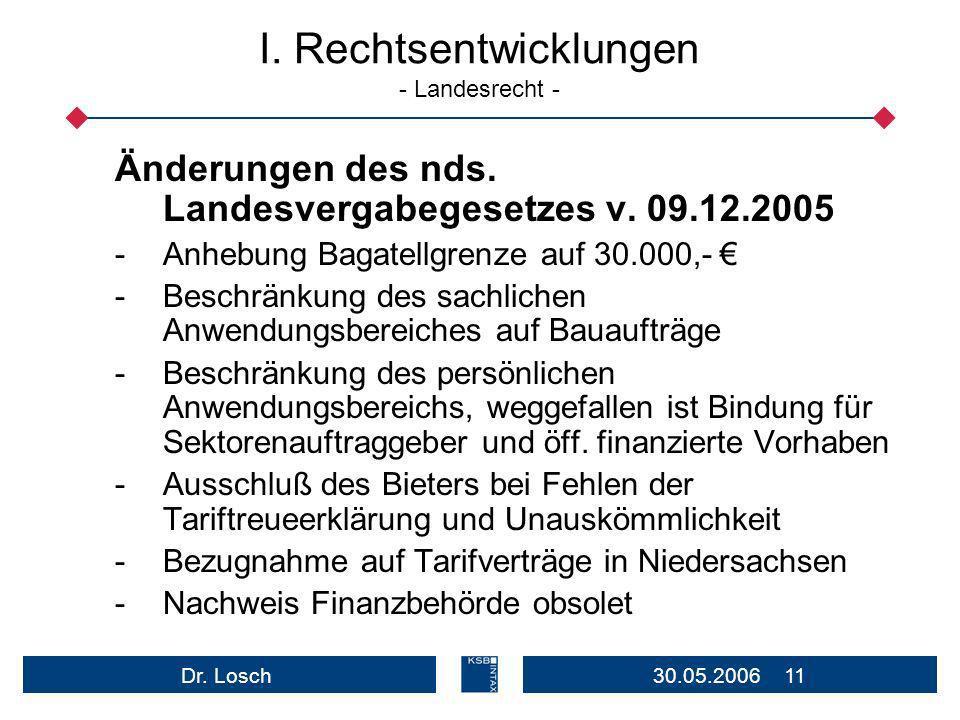 30.05.2006 11Dr.Losch I. Rechtsentwicklungen - Landesrecht - Änderungen des nds.