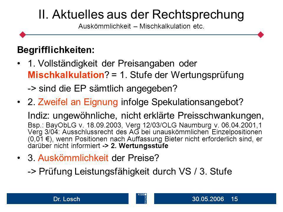 30.05.2006 15Dr.Losch II. Aktuelles aus der Rechtsprechung Auskömmlichkeit – Mischkalkulation etc.