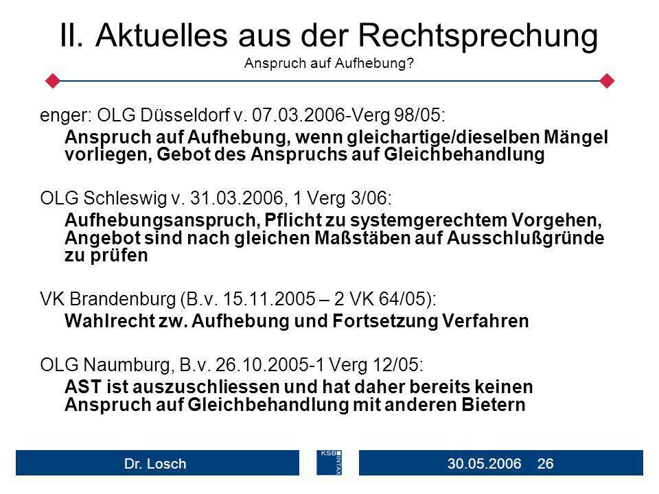 30.05.2006 26Dr.Losch II. Aktuelles aus der Rechtsprechung Anspruch auf Aufhebung.