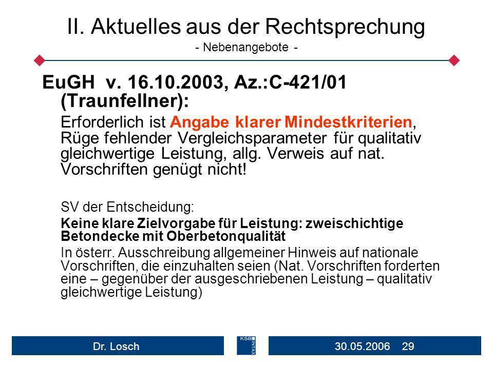 30.05.2006 29Dr.Losch II. Aktuelles aus der Rechtsprechung - Nebenangebote - EuGH v.