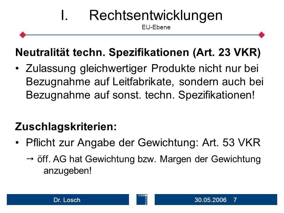 30.05.2006 7Dr.Losch I.Rechtsentwicklungen EU-Ebene Neutralität techn.