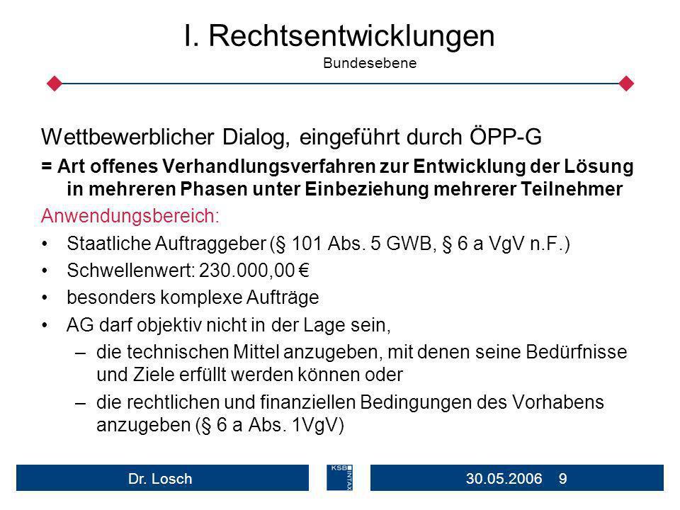 30.05.2006 10Dr.Losch I.Rechtsentwicklungen Bundesebene In Kürze/Aktuell: Änd.