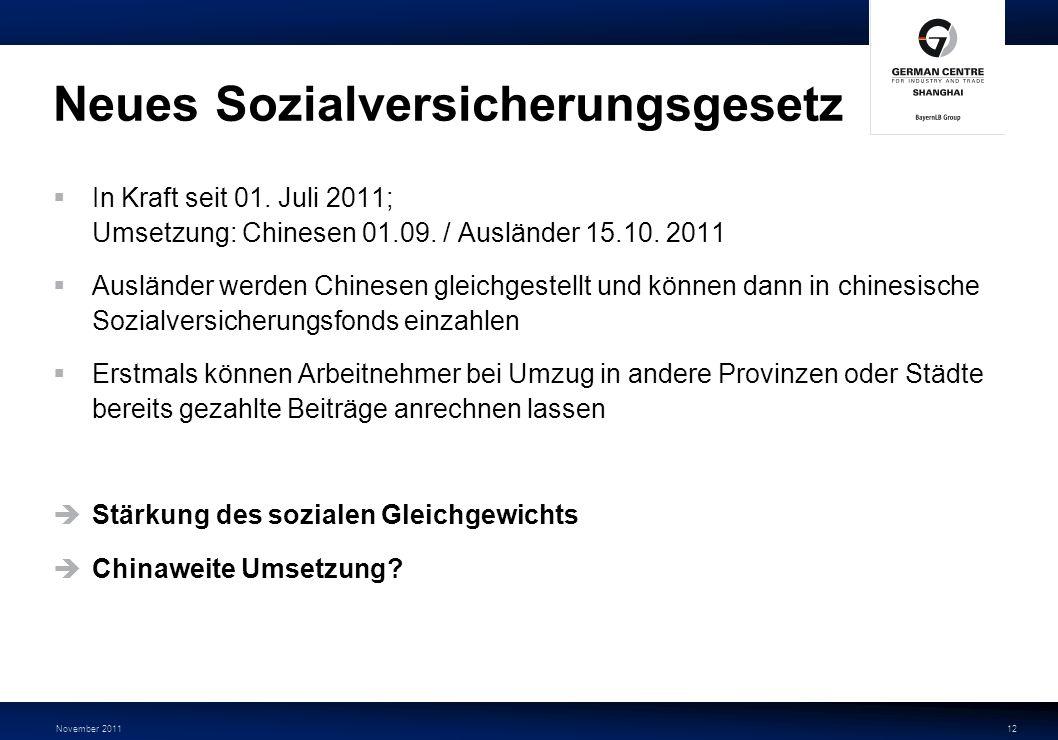 November 201112 Neues Sozialversicherungsgesetz In Kraft seit 01. Juli 2011; Umsetzung: Chinesen 01.09. / Ausländer 15.10. 2011 Ausländer werden Chine