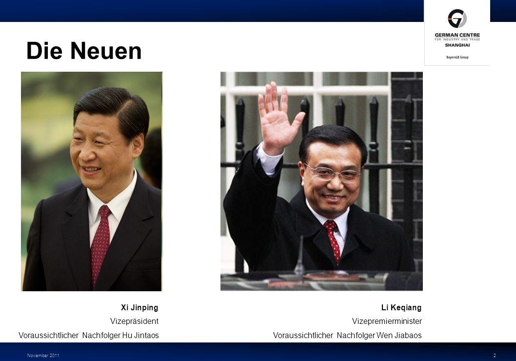 November 20112 Die Neuen Xi Jinping Vizepräsident Voraussichtlicher Nachfolger Hu Jintaos Li Keqiang Vizepremierminister Voraussichtlicher Nachfolger