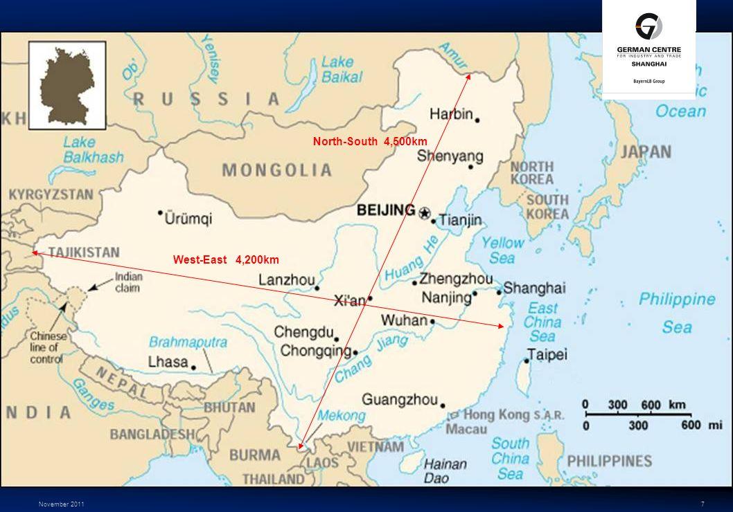 November 20117 West-East 4,200km North-South 4,500km