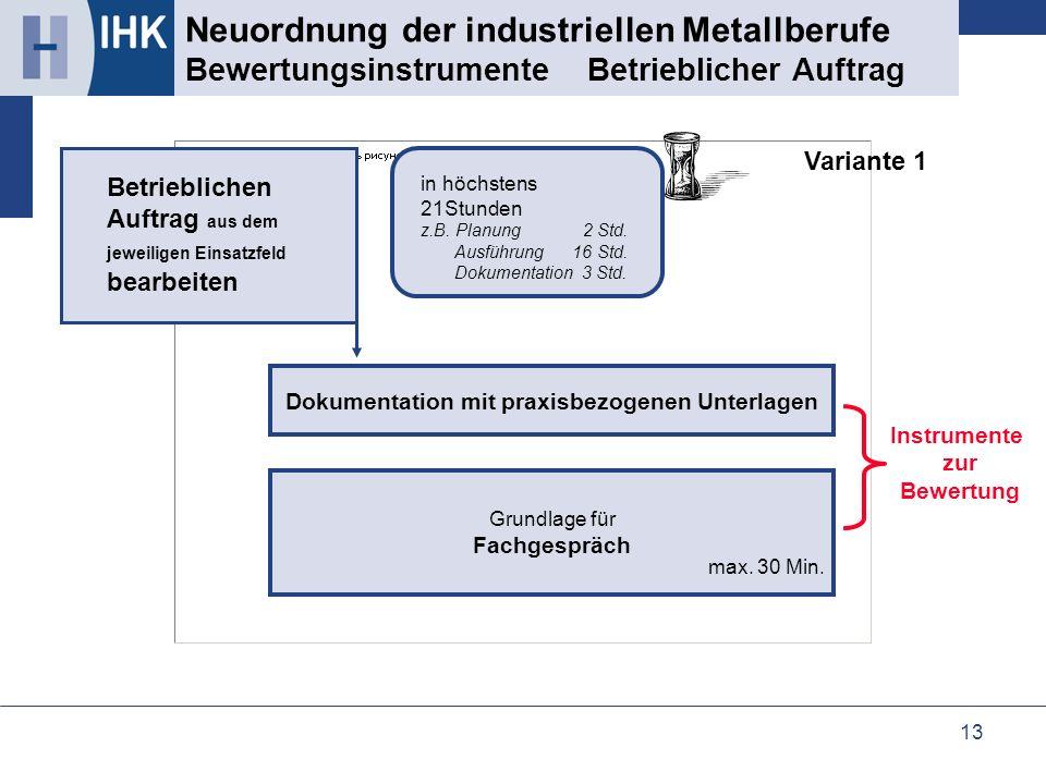 13 Neuordnung der industriellen Metallberufe Bewertungsinstrumente Betrieblicher Auftrag Grundlage für Fachgespräch Dokumentation mit praxisbezogenen