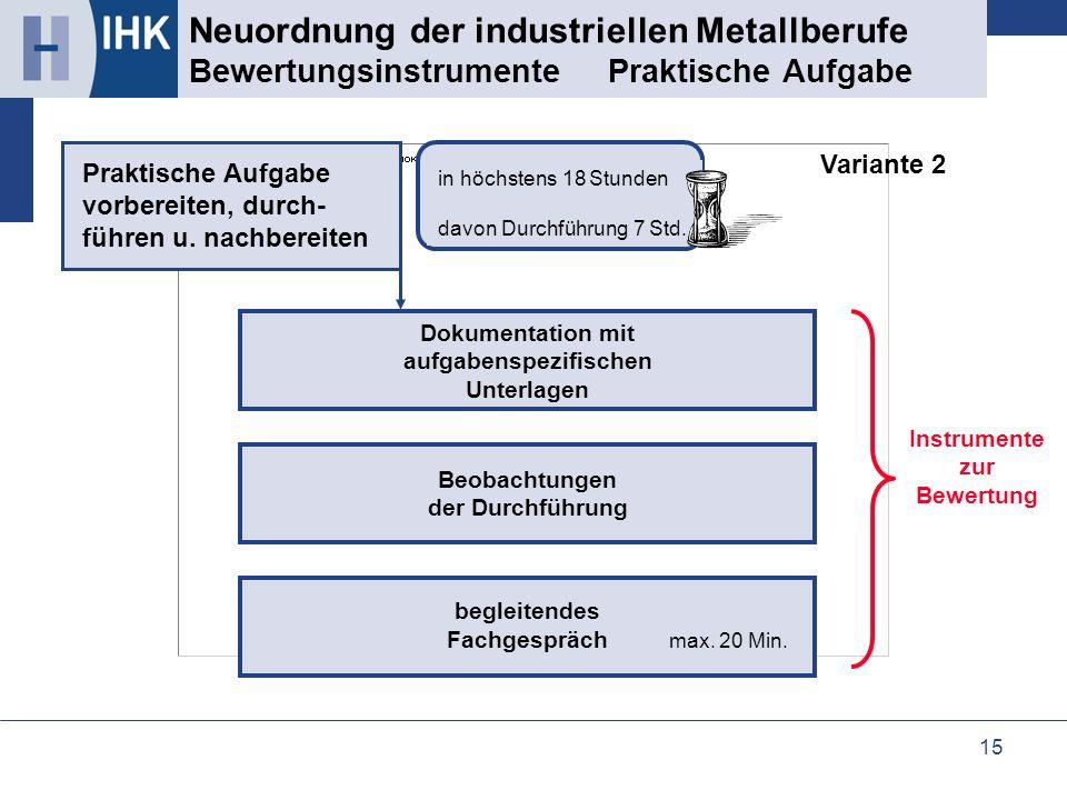 15 Neuordnung der industriellen Metallberufe Bewertungsinstrumente Praktische Aufgabe Beobachtungen der Durchführung Dokumentation mit aufgabenspezifi