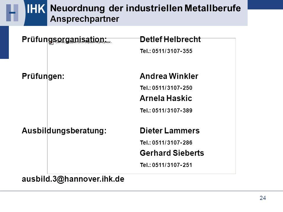 24 Neuordnung der industriellen Metallberufe Ansprechpartner Prüfungsorganisation:Detlef Helbrecht Tel.: 0511/ 3107- 355 Prüfungen:Andrea Winkler Tel.