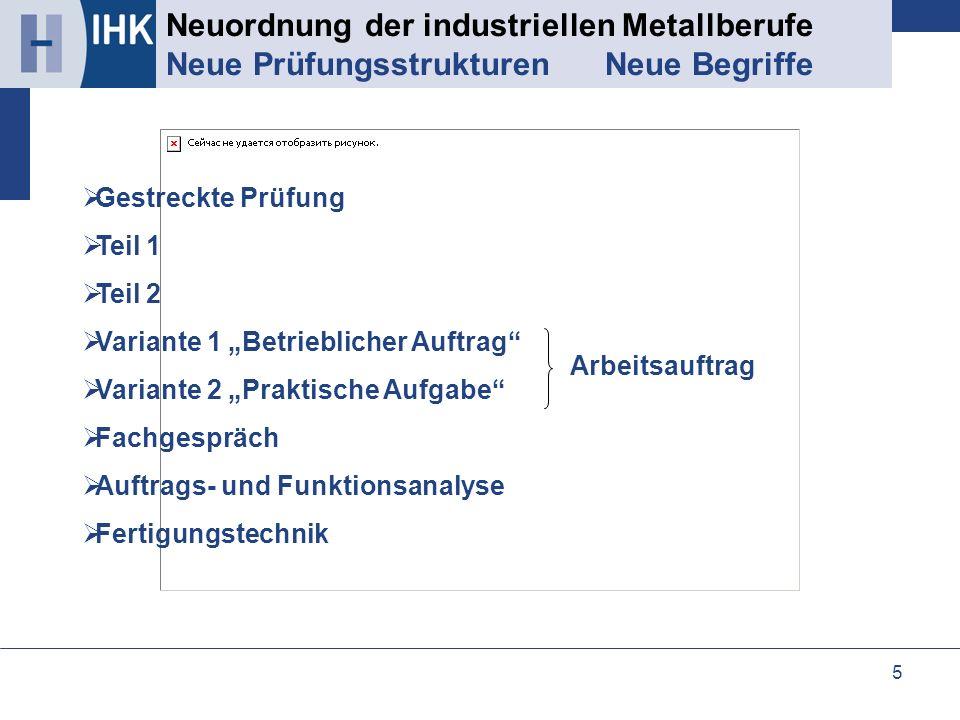 5 Neuordnung der industriellen Metallberufe Neue Prüfungsstrukturen Neue Begriffe Gestreckte Prüfung Teil 1 Teil 2 Variante 1 Betrieblicher Auftrag Va