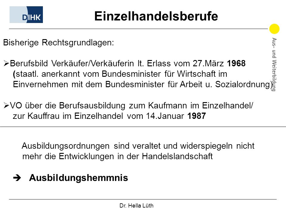 Dr. Hella Lüth Einzelhandelsberufe Bisherige Rechtsgrundlagen: Berufsbild Verkäufer/Verkäuferin lt. Erlass vom 27.März 1968 (staatl. anerkannt vom Bun