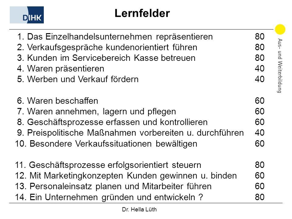 Dr. Hella Lüth Lernfelder 1. Das Einzelhandelsunternehmen repräsentieren 80 2. Verkaufsgespräche kundenorientiert führen 80 3. Kunden im Servicebereic