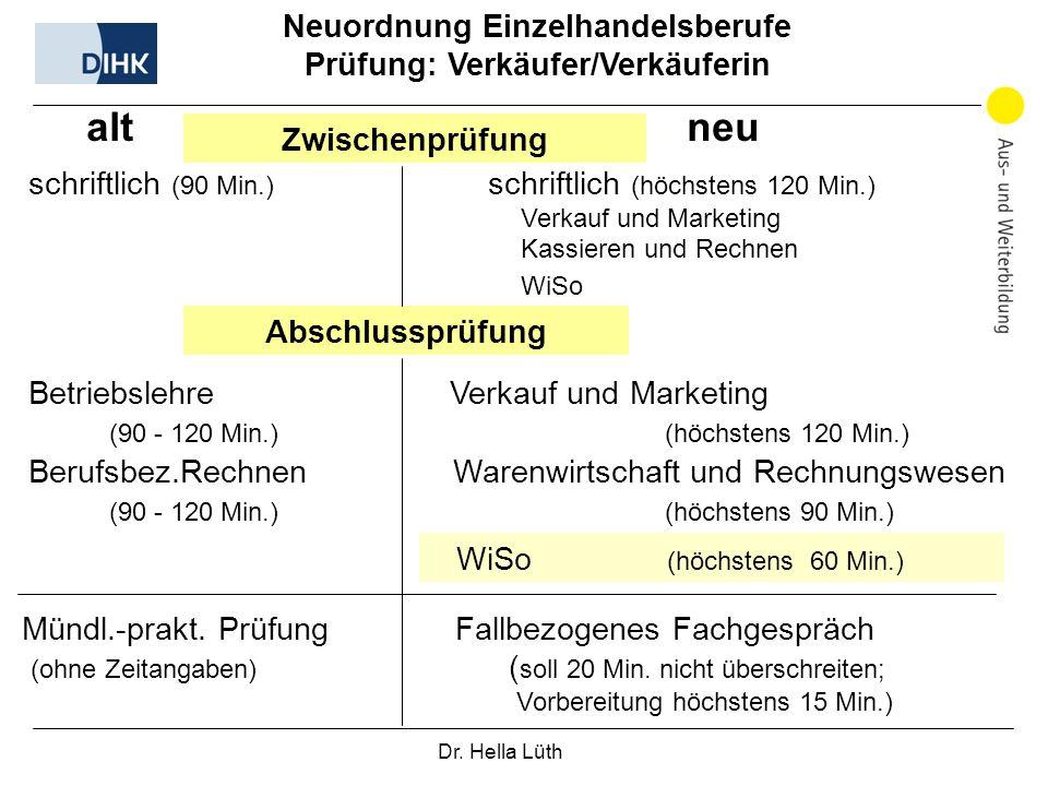 Dr. Hella Lüth Neuordnung Einzelhandelsberufe Prüfung: Verkäufer/Verkäuferin alt neu Zwischenprüfung schriftlich (90 Min.) schriftlich (höchstens 120