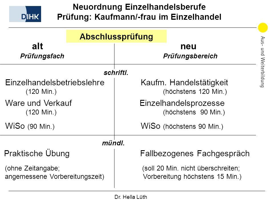 Dr. Hella Lüth Neuordnung Einzelhandelsberufe Prüfung: Kaufmann/-frau im Einzelhandel alt neu Abschlussprüfung Prüfungsfach Prüfungsbereich schriftl.