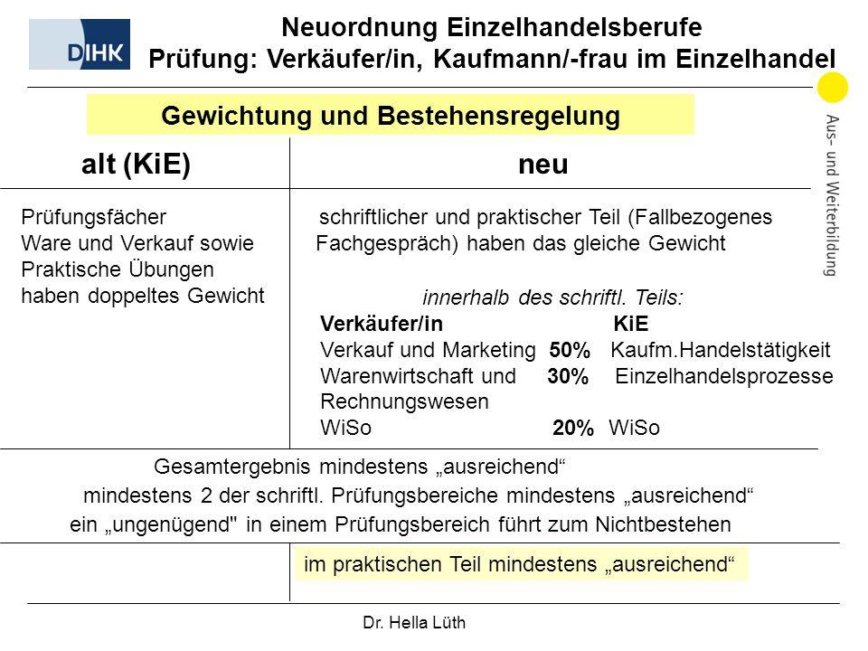 Dr. Hella Lüth Neuordnung Einzelhandelsberufe Prüfung: Verkäufer/in, Kaufmann/-frau im Einzelhandel Gewichtung und Bestehensregelung alt (KiE) neu Prü