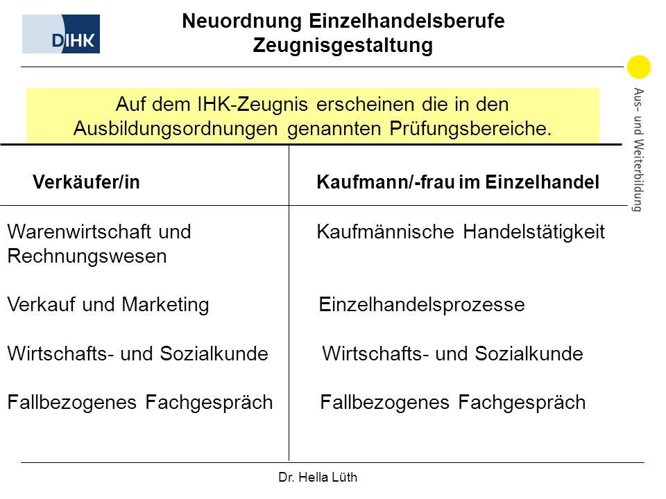 Dr. Hella Lüth Neuordnung Einzelhandelsberufe Zeugnisgestaltung Auf dem IHK-Zeugnis erscheinen die in den Ausbildungsordnungen genannten Prüfungsberei