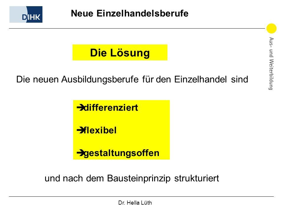 Dr. Hella Lüth Neue Einzelhandelsberufe Die Lösung Die neuen Ausbildungsberufe für den Einzelhandel sind differenziert flexibel gestaltungsoffen und n