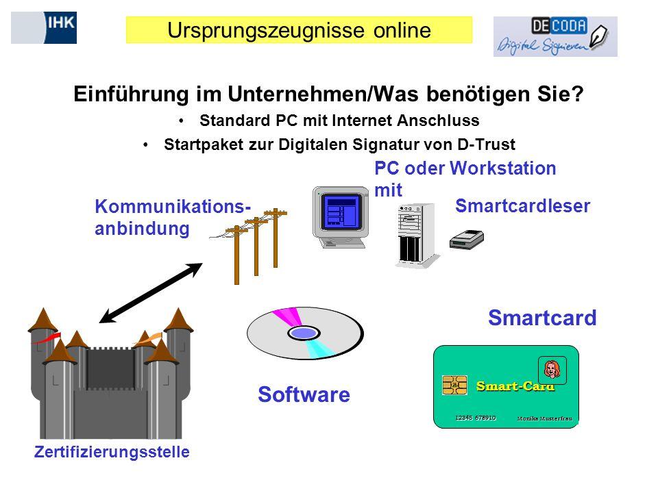 Ursprungszeugnisse online Einführung im Unternehmen/Was benötigen Sie? Standard PC mit Internet Anschluss Startpaket zur Digitalen Signatur von D-Trus
