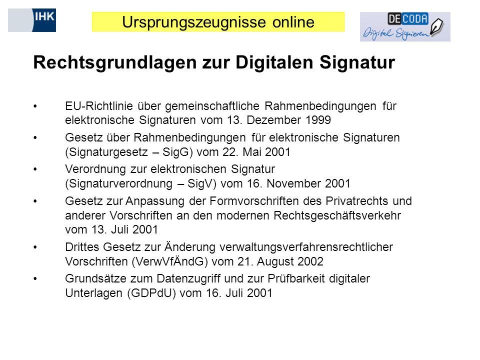 Ursprungszeugnisse online Rechtsgrundlagen zur Digitalen Signatur EU-Richtlinie über gemeinschaftliche Rahmenbedingungen für elektronische Signaturen