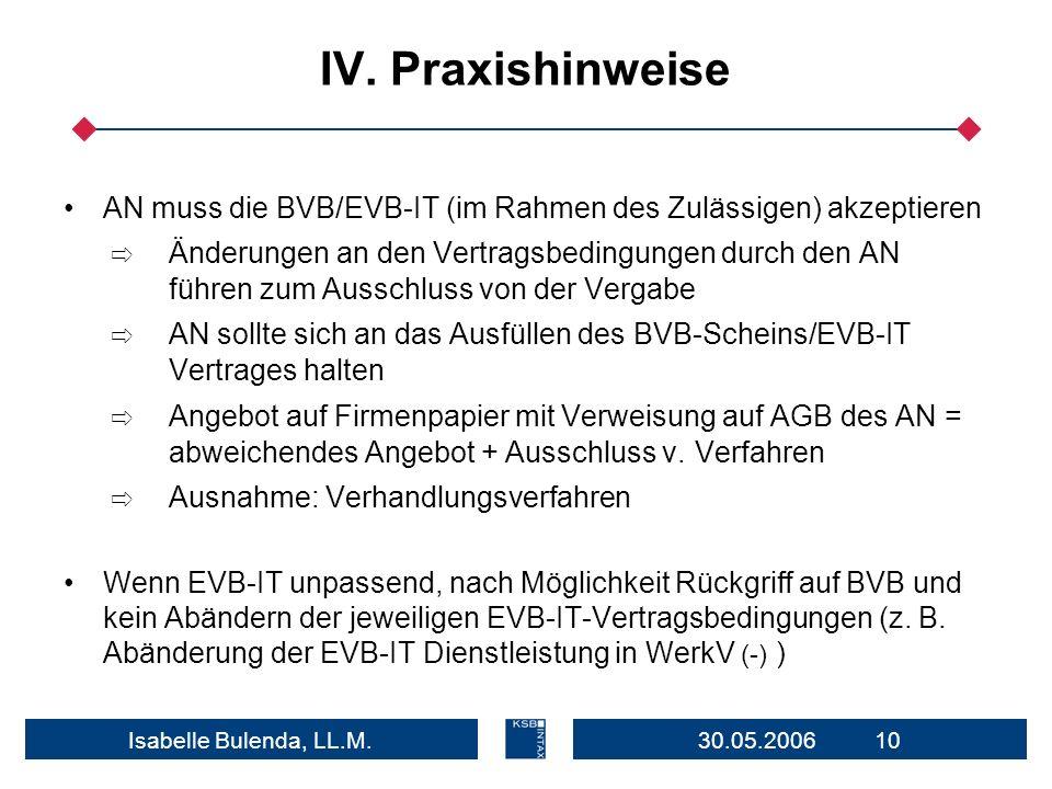 30.05.2006 10Isabelle Bulenda, LL.M. IV. Praxishinweise AN muss die BVB/EVB-IT (im Rahmen des Zulässigen) akzeptieren Änderungen an den Vertragsbeding