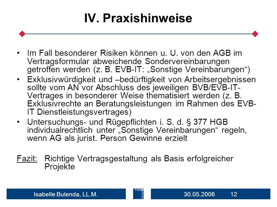 30.05.2006 12Isabelle Bulenda, LL.M. IV. Praxishinweise Im Fall besonderer Risiken können u. U. von den AGB im Vertragsformular abweichende Sondervere