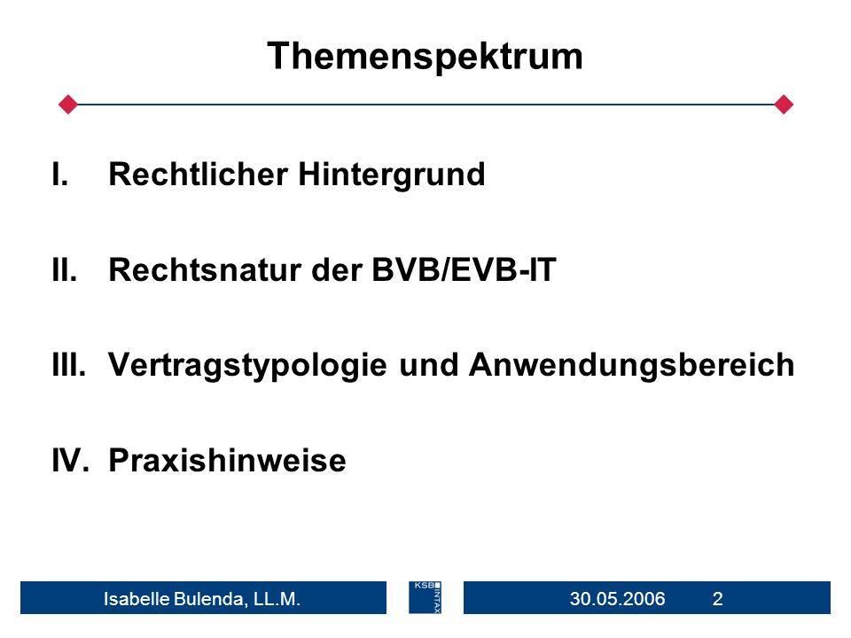 30.05.2006 2Isabelle Bulenda, LL.M. Themenspektrum I.Rechtlicher Hintergrund II.Rechtsnatur der BVB/EVB-IT III.Vertragstypologie und Anwendungsbereich
