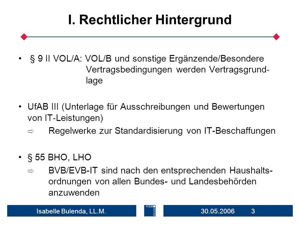 30.05.2006 3Isabelle Bulenda, LL.M. I. Rechtlicher Hintergrund § 9 II VOL/A: VOL/B und sonstige Ergänzende/Besondere Vertragsbedingungen werden Vertra
