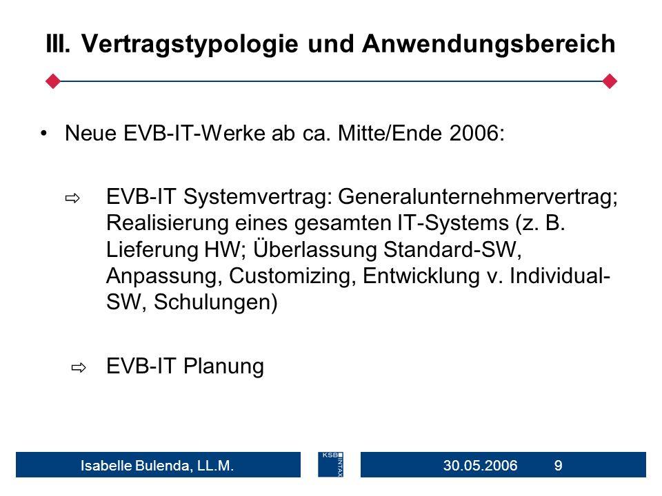 30.05.2006 9Isabelle Bulenda, LL.M. III. Vertragstypologie und Anwendungsbereich Neue EVB-IT-Werke ab ca. Mitte/Ende 2006: EVB-IT Systemvertrag: Gener