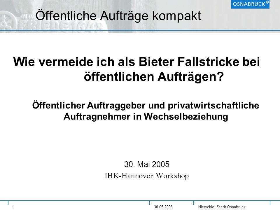 Nierychlo; Stadt Osnabrück 130.05.2006 Öffentliche Aufträge kompakt Wie vermeide ich als Bieter Fallstricke bei öffentlichen Aufträgen? Öffentlicher A