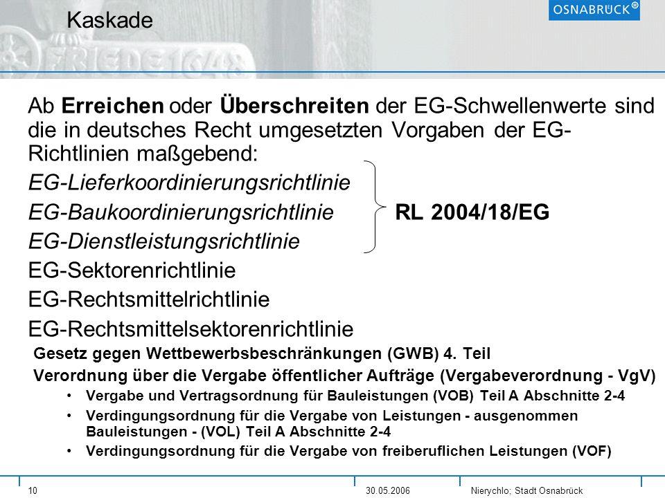 Nierychlo; Stadt Osnabrück 1030.05.2006 Kaskade Ab Erreichen oder Überschreiten der EG-Schwellenwerte sind die in deutsches Recht umgesetzten Vorgaben