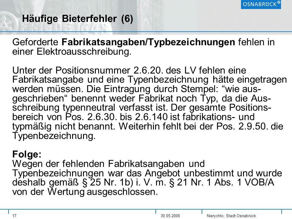 Nierychlo; Stadt Osnabrück 1730.05.2006 Häufige Bieterfehler (6) Geforderte Fabrikatsangaben/Typbezeichnungen fehlen in einer Elektroausschreibung. Un