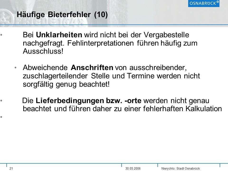 Nierychlo; Stadt Osnabrück 2130.05.2006 Häufige Bieterfehler (10) Bei Unklarheiten wird nicht bei der Vergabestelle nachgefragt. Fehlinterpretationen