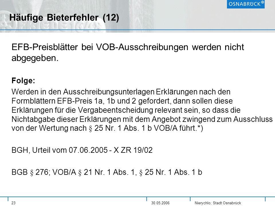 Nierychlo; Stadt Osnabrück 2330.05.2006 Häufige Bieterfehler (12) EFB-Preisblätter bei VOB-Ausschreibungen werden nicht abgegeben. Folge: Werden in de