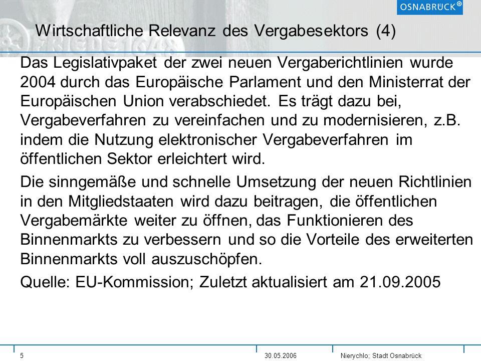 Nierychlo; Stadt Osnabrück 530.05.2006 Wirtschaftliche Relevanz des Vergabesektors (4) Das Legislativpaket der zwei neuen Vergaberichtlinien wurde 200